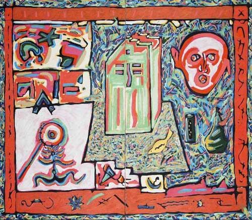 """Burning/Curbside, Diptych,"" by Steve Wadzinski, Oil on Canvas, ca. 1985"