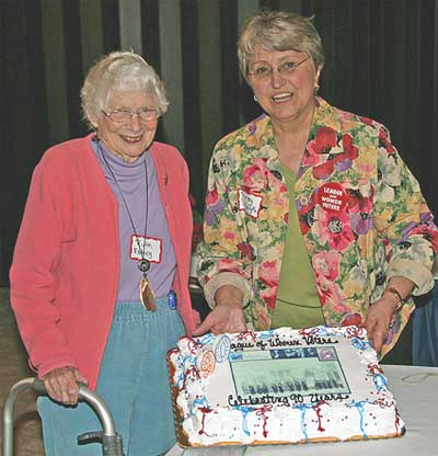 LWV of Door County Charter Member  Ruth Fahey and President Shirley Senarighi