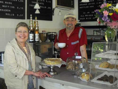 Charlene Berg and husband, Dewey Risenhoover at Gills Rock Coffee